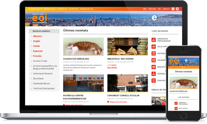 Diseño de página Web responsive de EOI Barcelona Vall d'Hebron