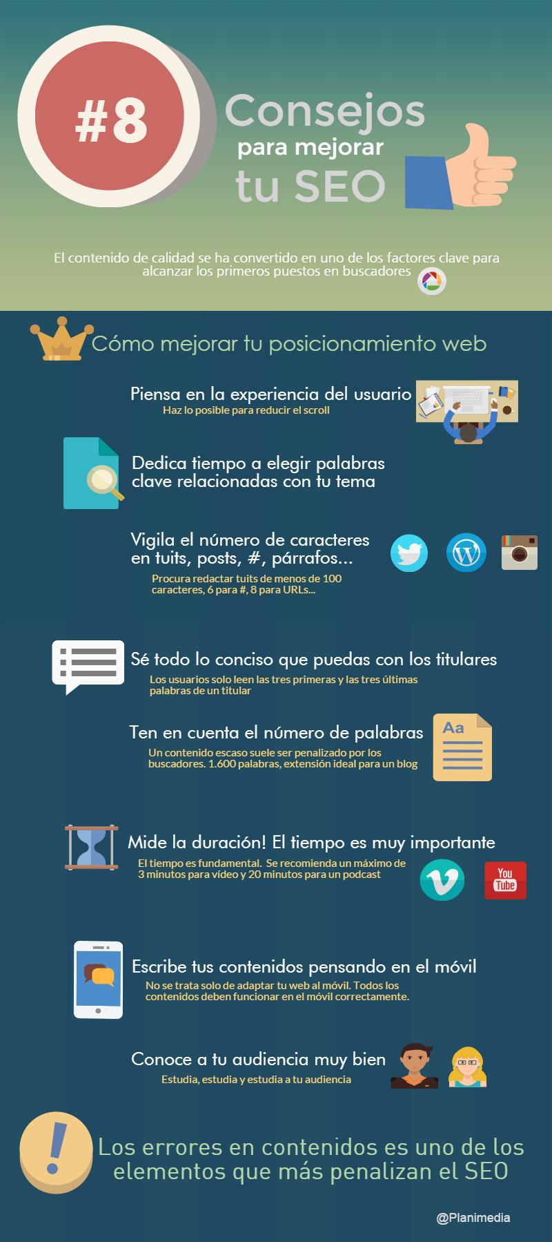 Infografía de cómo mejorar el posicionamiento SEO de tu página web